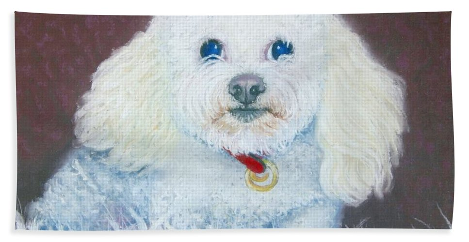 Dog Hand Towel featuring the painting Such A Charm by Minaz Jantz