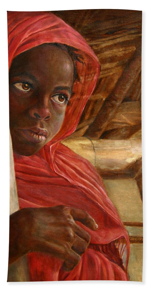 Children Painting Bath Sheet featuring the painting Sudanese Girl by Portraits By NC