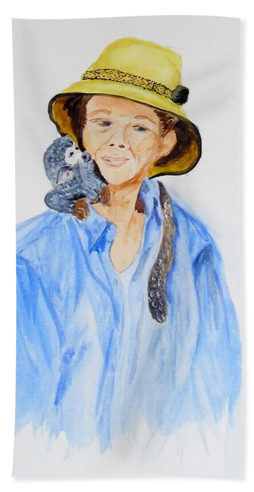 Equador Hand Towel featuring the painting Sue And Pepita by Vicki Housel