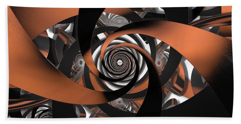 Fractal Hand Towel featuring the digital art Suede Spiral by Ron Bissett
