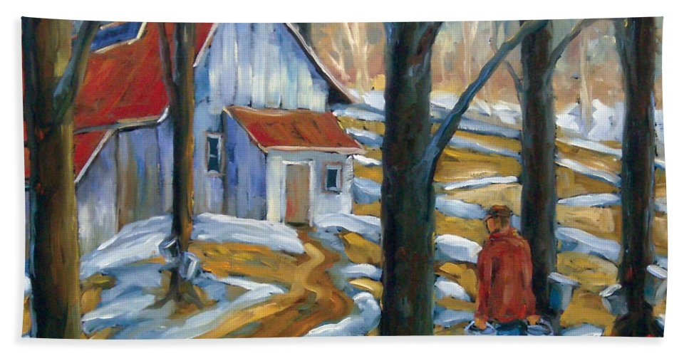Suga Hand Towel featuring the painting Sugar Bush by Richard T Pranke