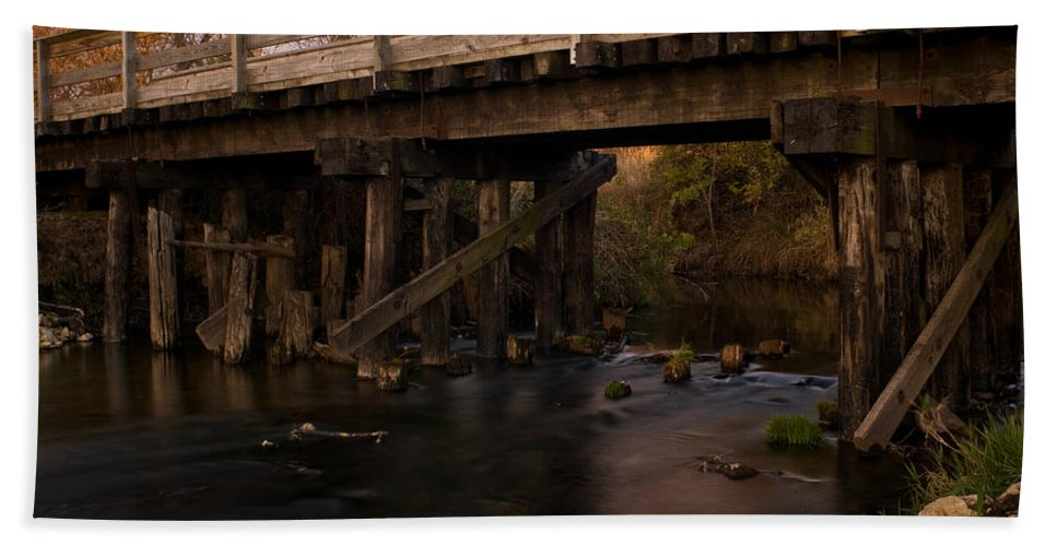 Bike Hand Towel featuring the photograph Sugar River Trestle Wisconsin by Steve Gadomski
