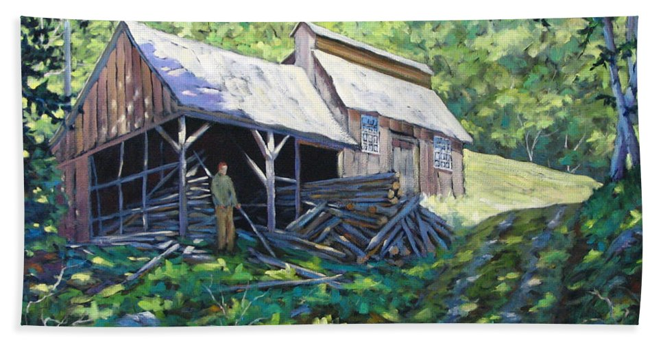 Sugar Shack Hand Towel featuring the painting Sugar Shack In July by Richard T Pranke