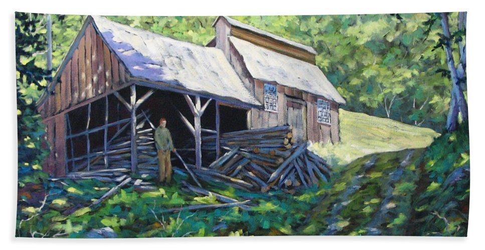 Sugar Shack Bath Towel featuring the painting Sugar Shack In July by Richard T Pranke