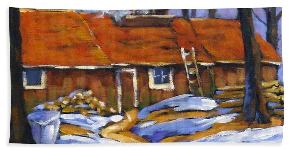 Sugar Shack Bath Towel featuring the painting Sugar Time by Richard T Pranke