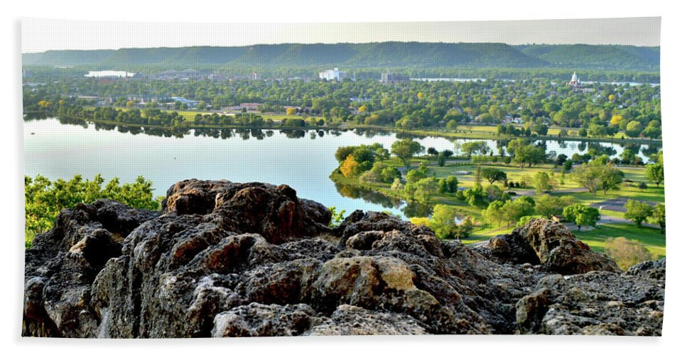 Bluff Country Bath Sheet featuring the photograph Sugarloaf View by Susie Loechler