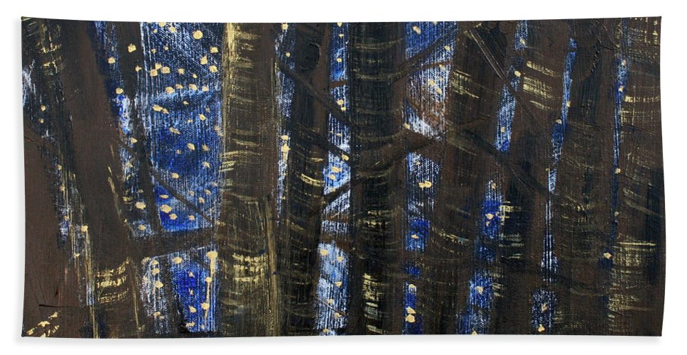 Stars Hand Towel featuring the painting Sukkot II Stars 2015035 by Alyse Radenovic