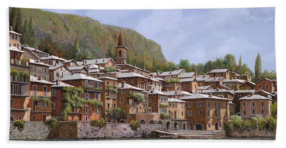 Lake Como Bath Towel featuring the painting Sul Lago Di Como by Guido Borelli