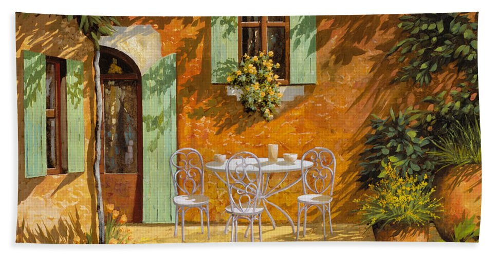 Quiete Hand Towel featuring the painting Sul Patio by Guido Borelli
