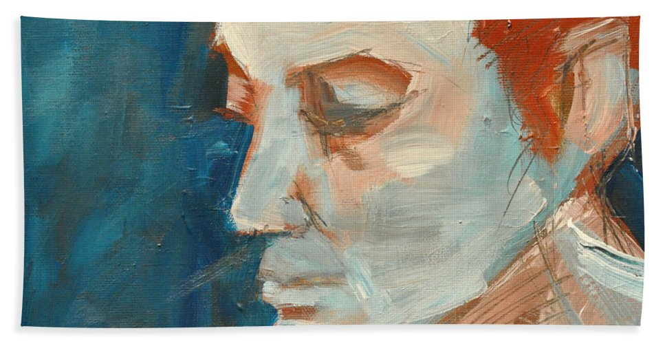 Face Hand Towel featuring the painting Sullen by Tim Nyberg