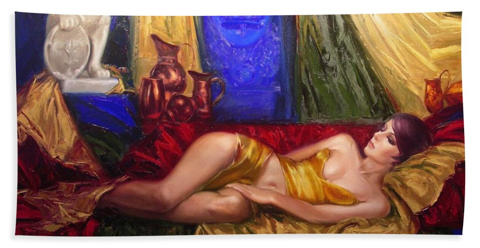Art Bath Sheet featuring the painting Sultan Spouse by Sergey Ignatenko