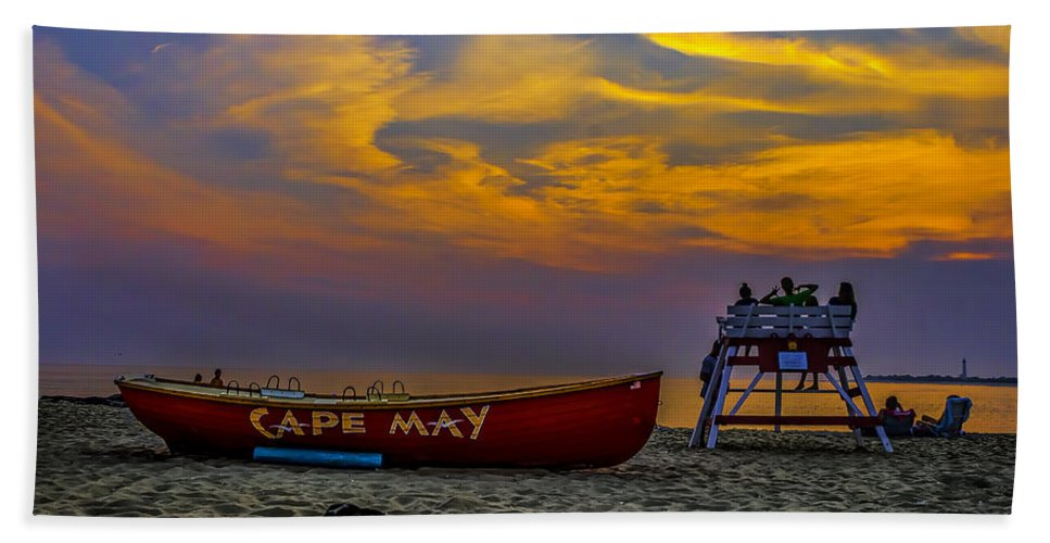 Atlantic Hand Towel featuring the photograph Summer Sunset In Cape May Nj by Nick Zelinsky