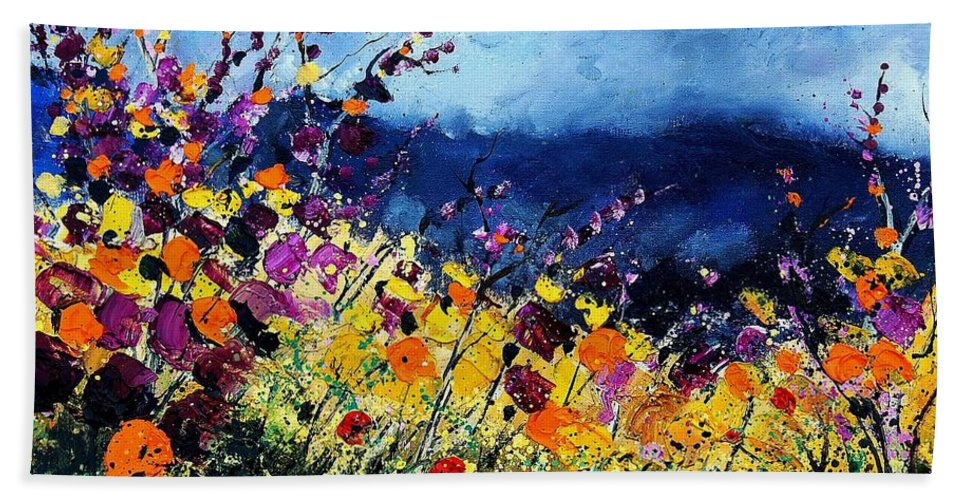 Poppy Hand Towel featuring the painting Summer 45 by Pol Ledent