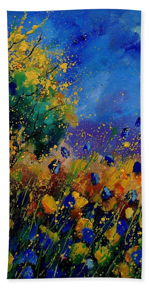 Poppy Bath Towel featuring the painting Summer 459090 by Pol Ledent