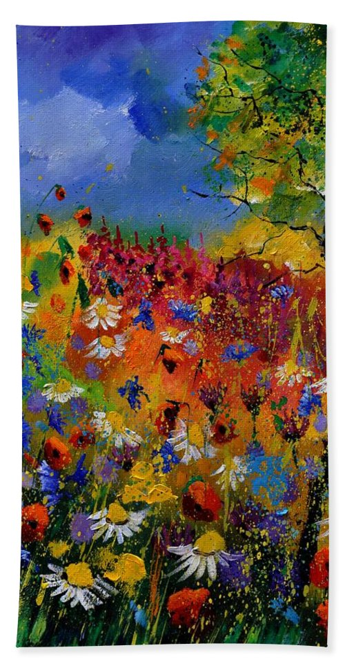 Flowers Bath Sheet featuring the painting Summer 670170 by Pol Ledent