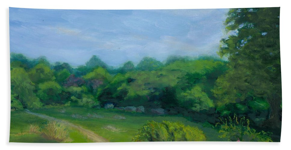 Landscape Bath Sheet featuring the painting Summer Afternoon At Ashlawn Farm by Paula Emery