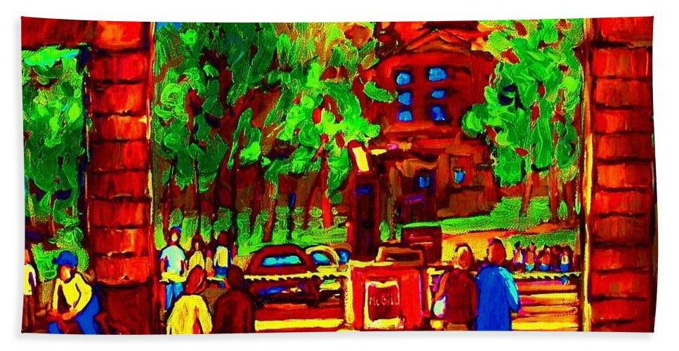 Mcgill University Bath Towel featuring the painting Summer At Mcgill University by Carole Spandau