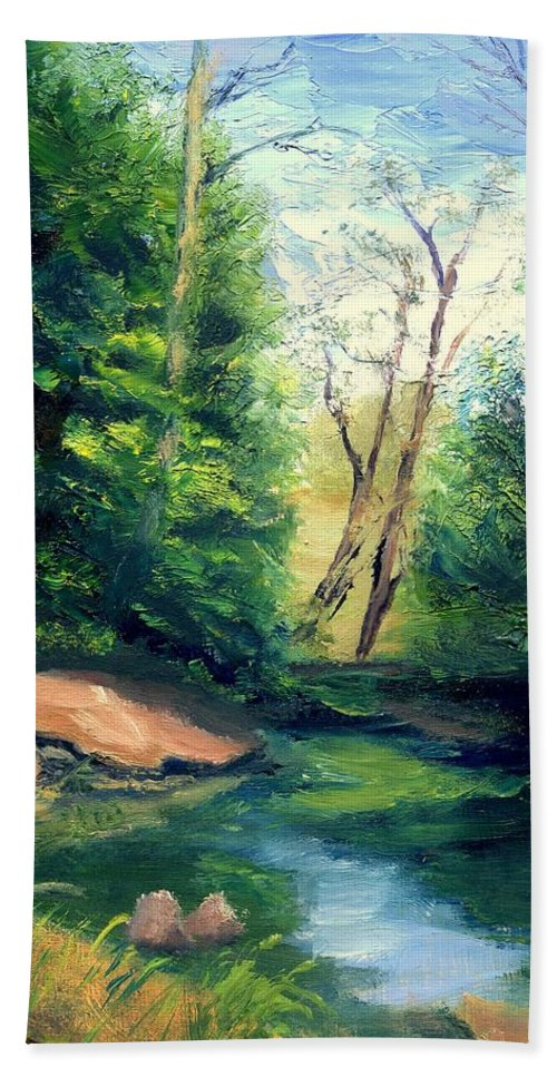 Landscape Bath Towel featuring the painting Summer at Storm by Gail Kirtz