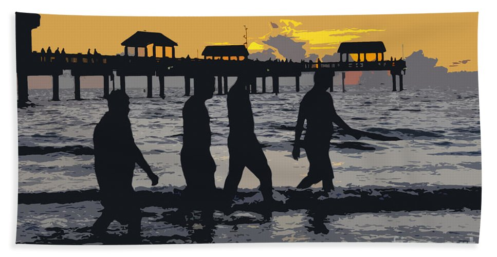 Men Hand Towel featuring the painting Summer At The Beach by David Lee Thompson
