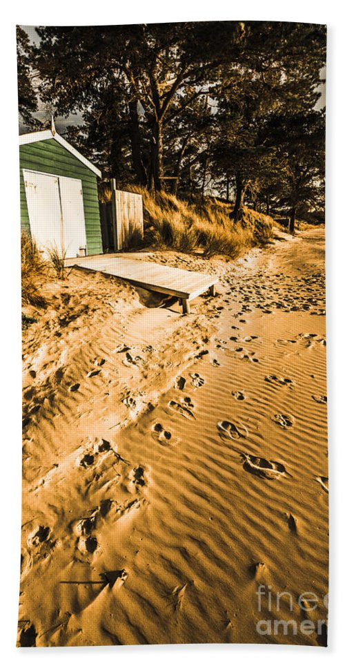 Calm Hand Towel featuring the photograph Summer Beach Shacks by Jorgo Photography - Wall Art Gallery