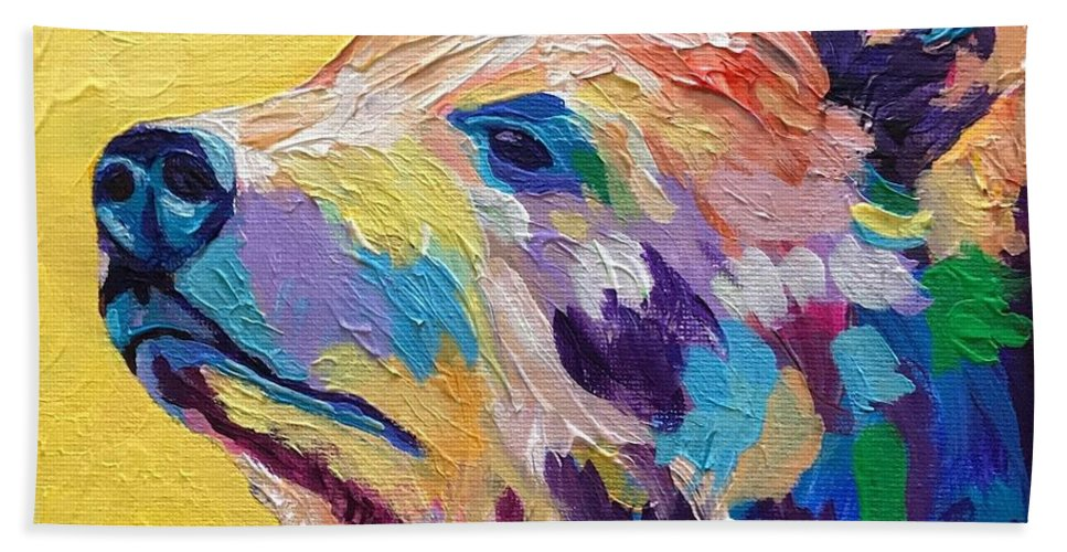 Abstract Bath Sheet featuring the painting Summer Bear by Kathi Schwan
