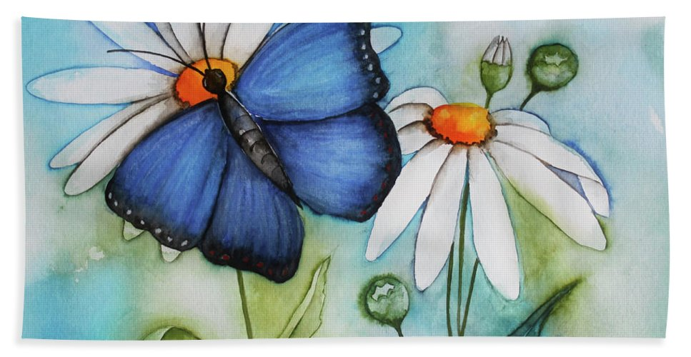 Painting Hand Towel featuring the painting Summer Blue by Jutta Maria Pusl