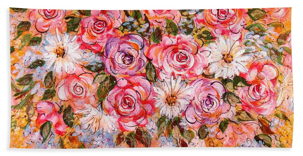 Flowers Hand Towel featuring the painting Summer Bouquet by Natalie Holland
