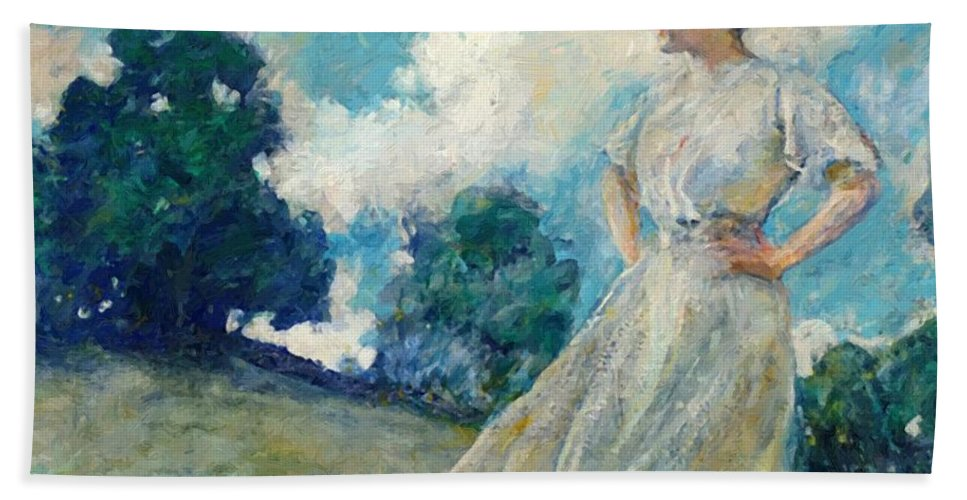 Summer Hand Towel featuring the painting Summer Breeze 1915 by Reid Robert Lewis