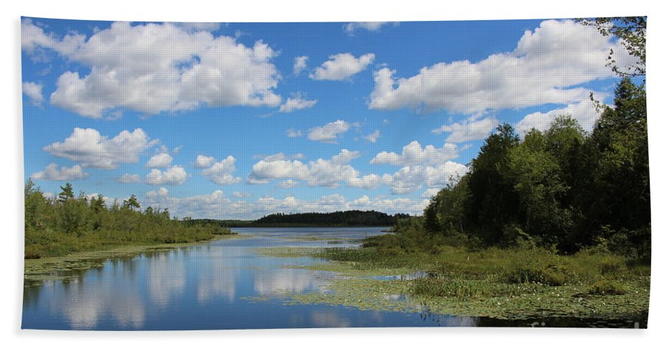 Summer Hand Towel featuring the photograph Summer Cloud Reflections On Little Indian Pond In Saint Albans Maine by Colleen Snow
