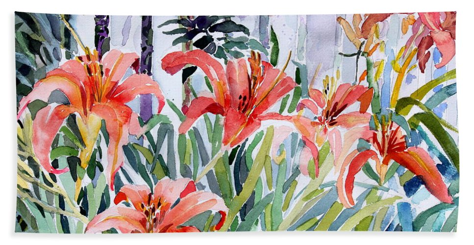 Day Lily Bath Towel featuring the painting My Summer Day Liliies by Mindy Newman