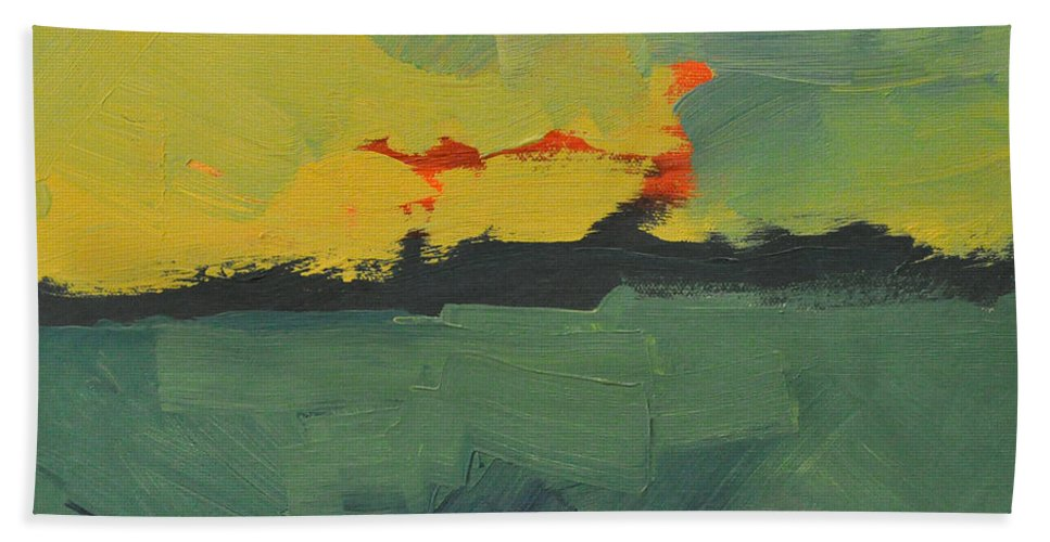 Abstract Hand Towel featuring the painting Summer Eve Bayside by Tim Nyberg