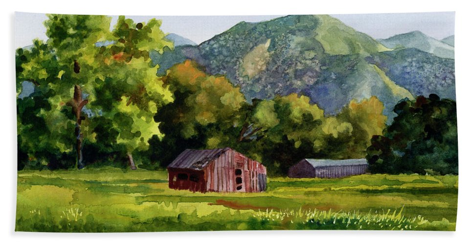 Barn Painting Bath Towel featuring the painting Summer Evening by Anne Gifford