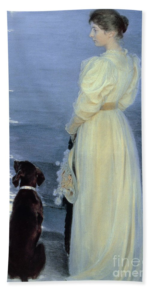 Summer Evening At Skagen Bath Sheet featuring the painting Summer Evening At Skagen by Peder Severin Kroyer