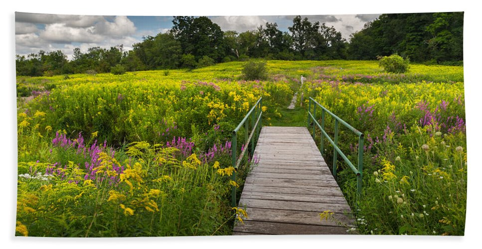 Wildflowers Bath Sheet featuring the photograph Summer Field Of Wildflowers by Bill Wakeley