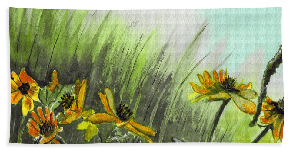 Landscape Hand Towel featuring the painting Summer Flight by Brenda Owen