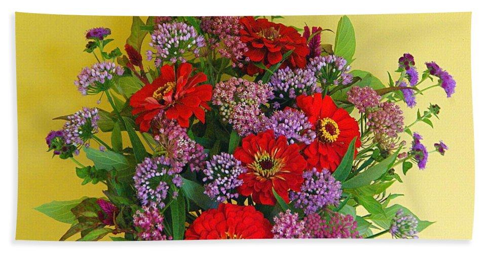 Still Life Bath Sheet featuring the photograph Summer Flower Bouquet by Byron Varvarigos