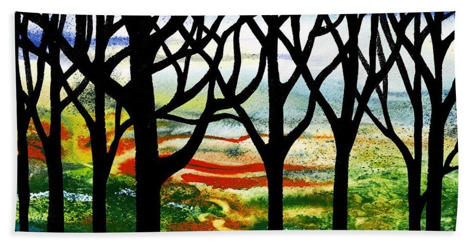 Summer Forest Bath Sheet featuring the painting Summer Forest Abstract by Irina Sztukowski