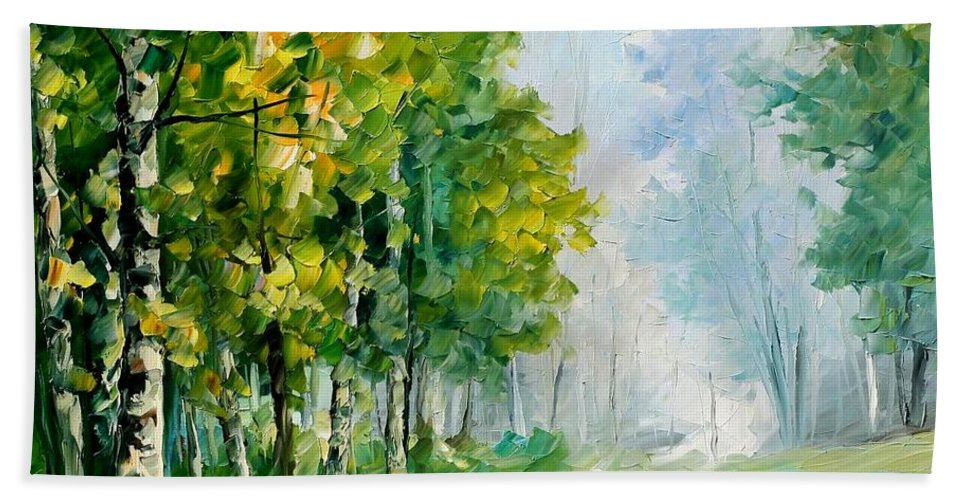 Afremov Bath Sheet featuring the painting Summer Forest by Leonid Afremov