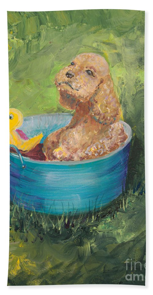 Dog Hand Towel featuring the painting Summer Fun by Nadine Rippelmeyer