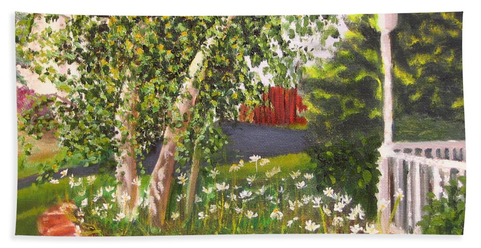 Daisies Hand Towel featuring the painting Summer Garden by Lea Novak