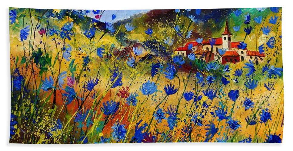 Flowers Hand Towel featuring the painting Summer Glory by Pol Ledent