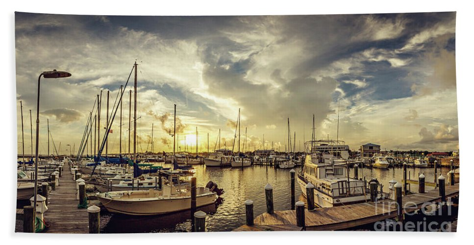 Harbor Bath Sheet featuring the photograph Summer Harbor Sunset by Joan McCool