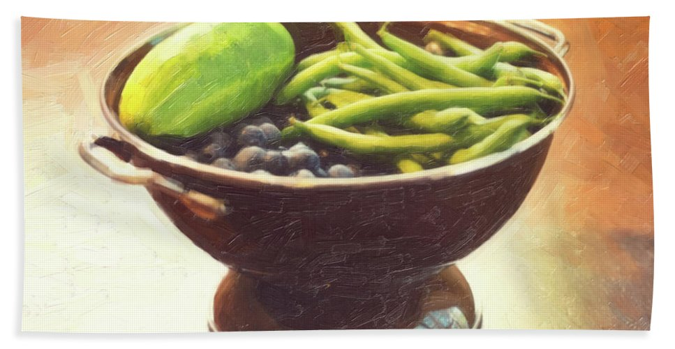 Still Life Hand Towel featuring the photograph Summer Harvest by Sue Collura