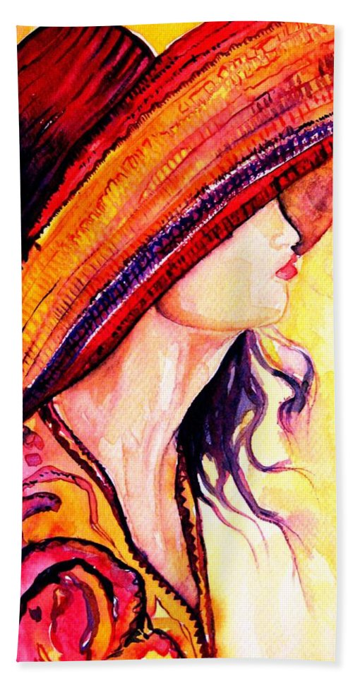 Elegant Lady Hand Towel featuring the painting Summer Hat by Carole Spandau