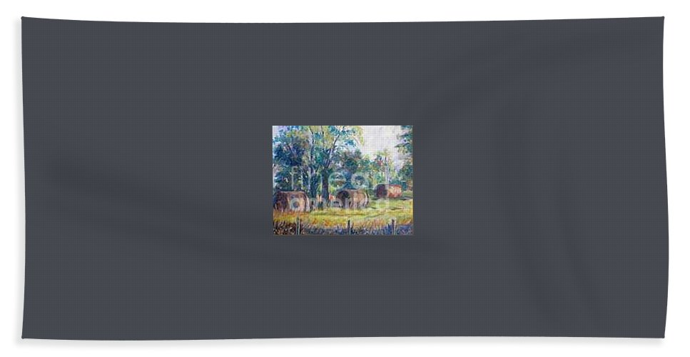 Landscape Bath Towel featuring the painting Summer Idyll by Jan Bennicoff