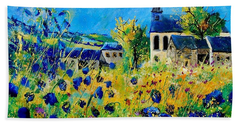 Poppies Hand Towel featuring the painting Summer In Foy Notre Dame by Pol Ledent