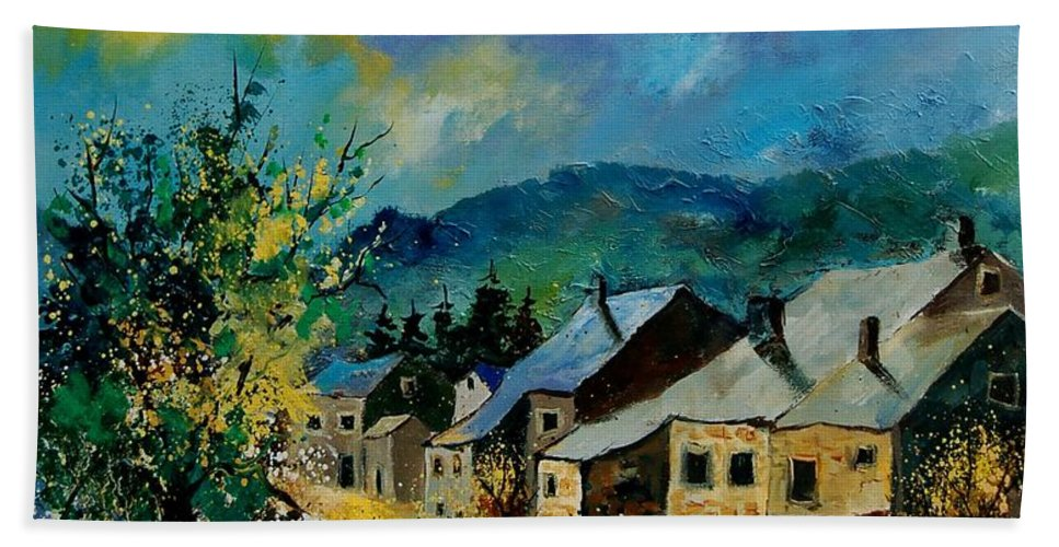 Poppies Hand Towel featuring the painting Summer In Mogimont by Pol Ledent