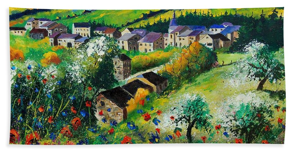 Poppies Bath Towel featuring the painting Summer In Rochehaut by Pol Ledent