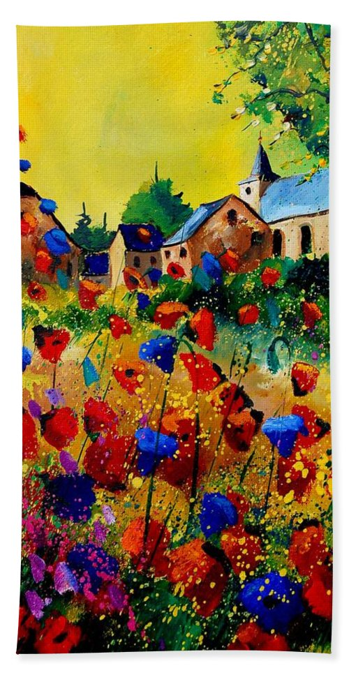 Poppy Hand Towel featuring the painting Summer In Sosoye by Pol Ledent