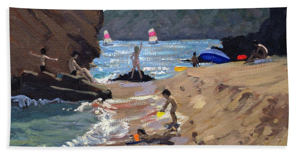 Resort Hand Towel featuring the painting Summer In Spain by Andrew Macara